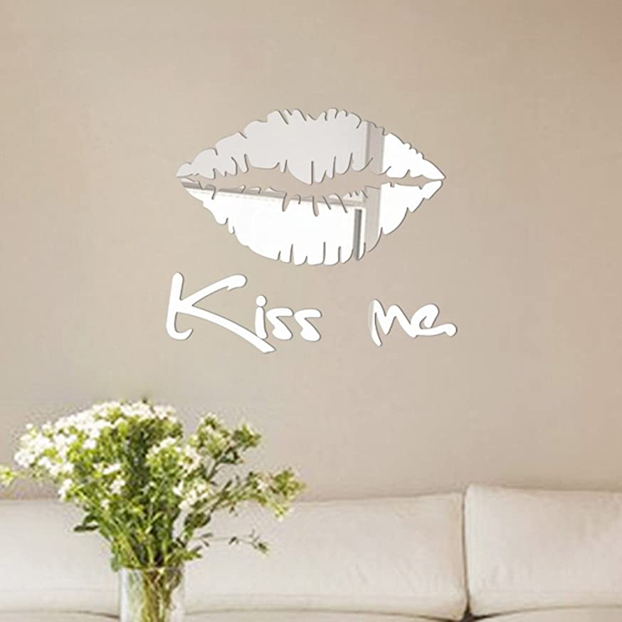 ?? Yu2d ?? Removable Kiss Me Mirror Wall Sticker Decal Art Mural Home Room Decor Silver