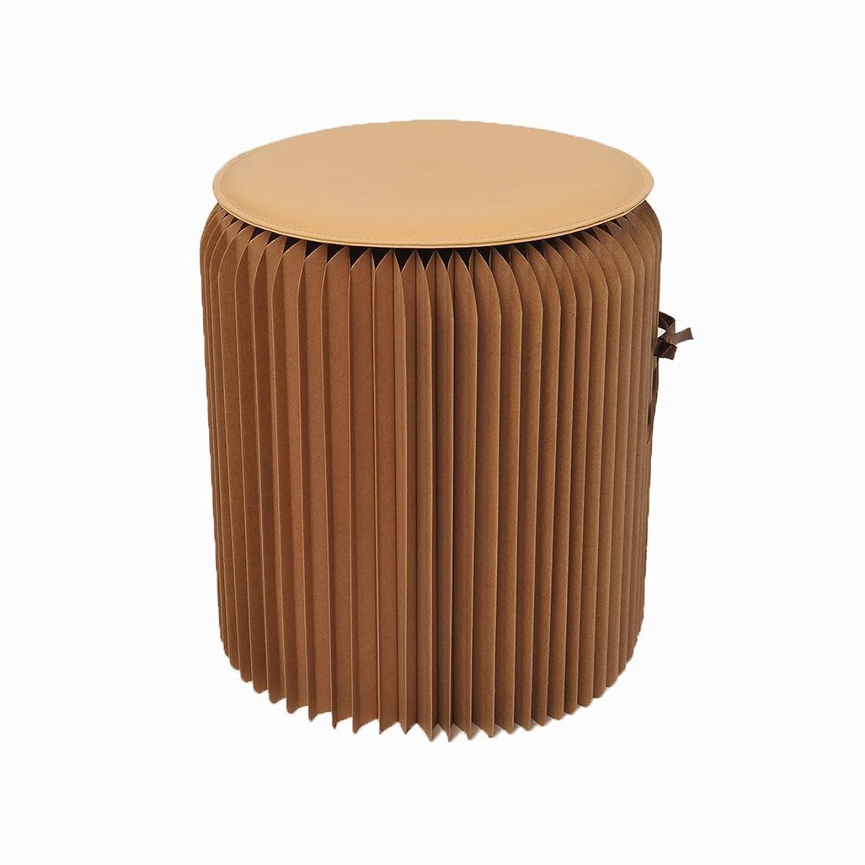 安息スキニー薄汚いOSOYOO(オソヨー) 紙製 スツール 防水 耐荷重300キロ 室内装飾やオフィス、アウトドア活動用折りたたみチェア 丸 北欧風 クッション付き (茶色)
