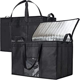 NZ Home Food Delivery Bags, Insulated Reusable Grocery Bag | Ideal for Uber Eats, Instacart, Doordash, Grubhub, Postmates, Restaurant, Catering, Grocery Transport | Dual Zipper (XXXL 2 Pack)