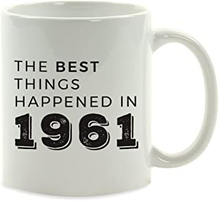 Andaz Press 11oz. Birthday Milestone Coffee Mug Gift, The Best Things Happened in 1961, 1-Pack, 57th, 58th, 59th, 60th Birthday, Anniversary Ideas for Him or Her