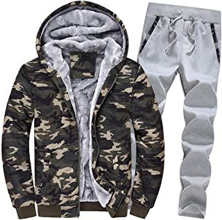 Mens Athletic Full Zip Fleece Tracksuit Jogging Sweatsuit Activewear Hooded Top