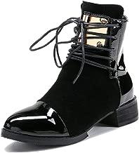 LIURUIJIA Women Leather Genuine Boots Martin Ankle Boots Sheet Metal Short Boots Flat Bottom Black Burgundy GI-BT-GC213-2