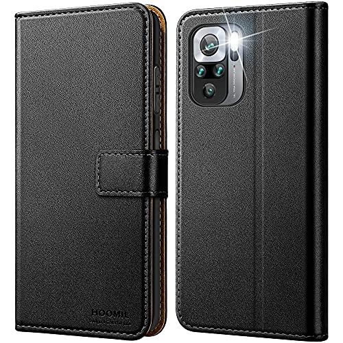 HOOMIL Handyhülle für Xiaomi Redmi Note 10 Hülle Leder Tasche Flip Hülle Schutzhülle Kompatibel mit Xiaomi Redmi Note 10 Hülle Schwarz