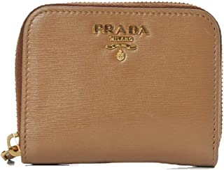 Prada Portamonete Verticale Cromo Silver Vitello Move Leather Zipper Wallet 1MM268