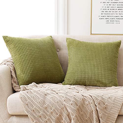 Deconovo Funda para cojin Prodector del Mueble Decorativa Cuadrada 2 Piezas 50x50cm Verde Amarillo