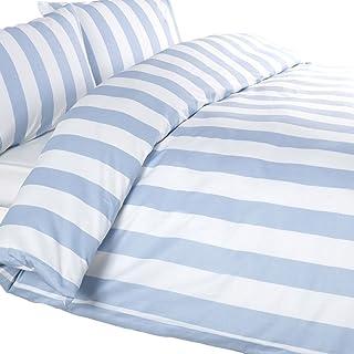 Louisiana Bedding Set y Juego Cubre Funda de Edredón Nórdico Azul y Blanco Super King