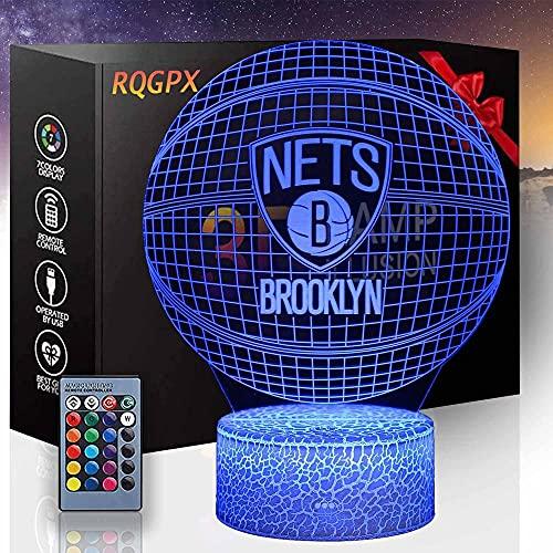 Luz nocturna LED 3D, equipo de baloncesto, lámpara de ilusión 3D, juguetes de 16 colores para niños de 8 a 12 años de edad, lámpara 3D, regalo de cumpleaños, edad 7, 8, 9, 10 niños