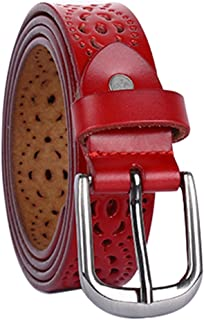 uxcell Women Carved Multi-hole Hollow Alloy Pin Buckle Leather Belt