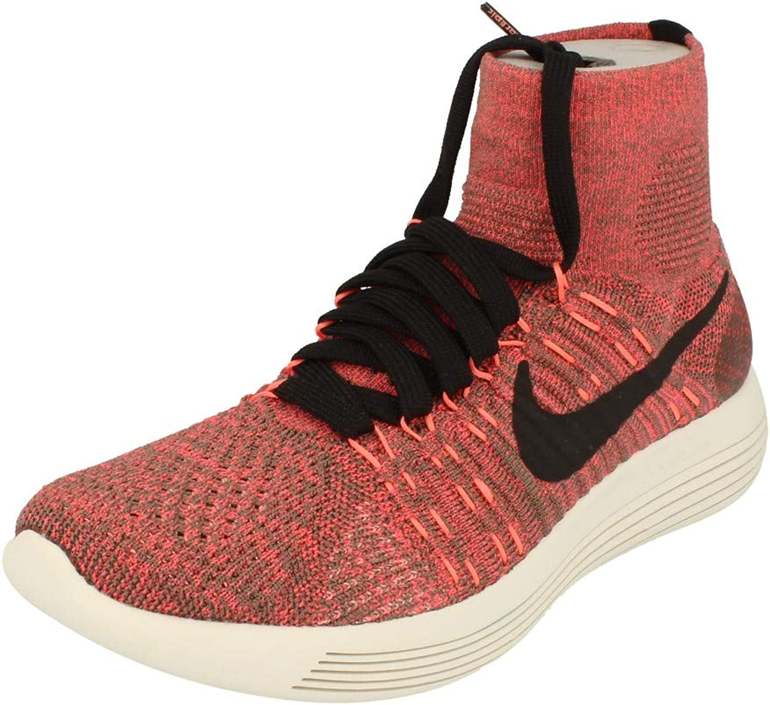 Nike Womens Lunarepic Flyknit Running Trainers 818677 Sneakers shoes (Dark Mushroom hot Punch 200)