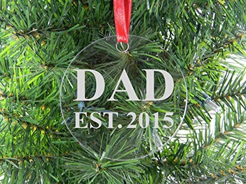 DKISEE Dad Est 2015 Clear Glass Christmas Ornament 3 Novelty Memorial Keepsake Ornament Birthday product image