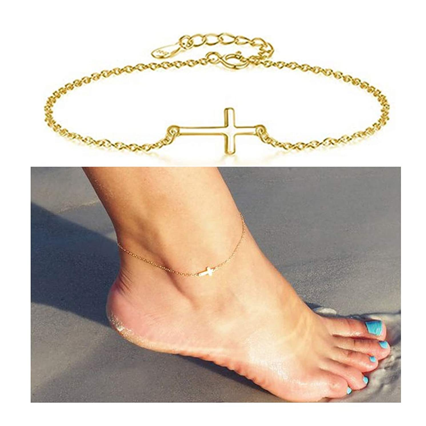 choice of all Sideways Cross Anklet Bracelet for Women Crucifix Ankle Chain Foot Jewelry