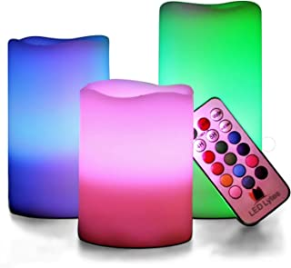 LED Lytes Multi Colored Flameless Candles, 3 Ivory Wax with Multi-Function Timer Remote Control, Battery Operated with Flickering Flame Candle Set for Gifts