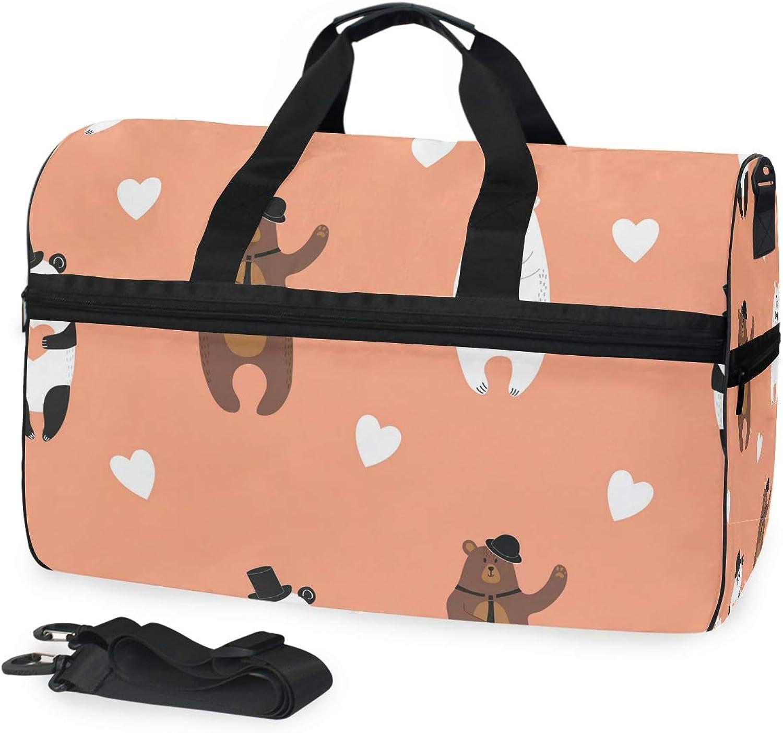 83b036032475 FANTAZIO Cute Bears Sports Duffle Gym Bag Travel Duffel with ...