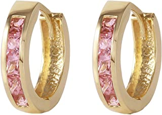 Galaxy Gold 14k Solid Yellow Gold Hoop Huggie Earrings with 1.3 CTW Natural Pink Sapphire