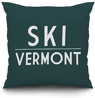 Lantern Press Ski Vermont - Simply Said (16x16 Spun Polyester Pillow, Custom Border)
