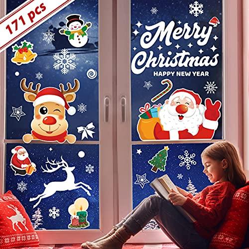 171 pezzi vetrofanie natalizie riutilizzabili, 7 fogli di vetrofanie natalizie per finestre su entrambi i lati, vetrofanie natalizie grandi PVC elettrostatico per finestre, vetro, vetrina