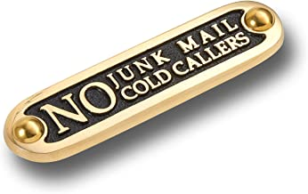 No Junk Mail No Cold Callers Metal Brass Door Sign. Traditional Style Home Décor Wall Plaque Handmade by The Metal Foundry UK.