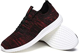 AUCDK Men Breathable Mesh Sneakers Seasons Sport Running Shoes Lightweight Casual Walking Plate Shoes