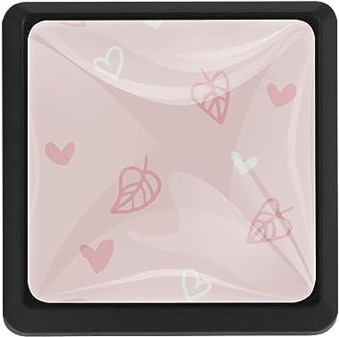 [3 PCS]Vintage Color Multi Designed Cupboard Cabinet Door Knobs Square Drawer Pulls Pink Heart Leaves