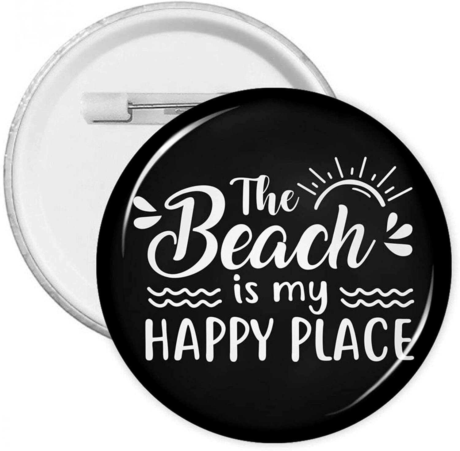 San Antonio Mall The Beach Is My Happy Place-4 Badge Clothing Button Pins Free shipping Round