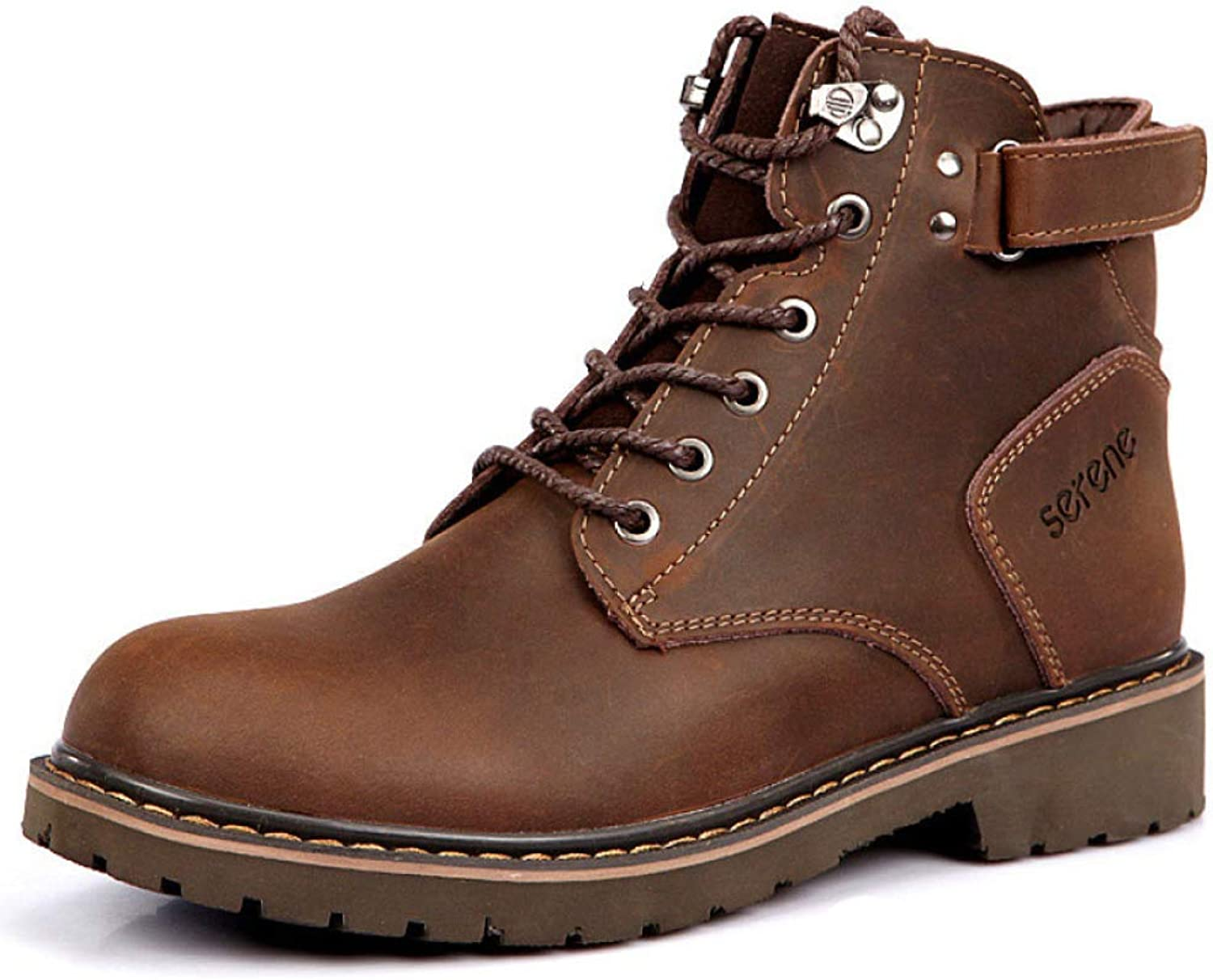 DSFGHE Men's Martin Boots Leather Casual Chukka Ankle Boots Army Tactics Boots Booties Snow Boots High Help Work Boots Lace-up shoes