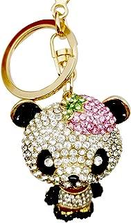 SISdecor Crystal Key Chain Charm Key Ring Blingbling Bag Car Purse Charms Pendant Phone Charms Hanging Trinket Gift for Women Girls (Panda)