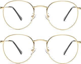Vintage Round Metal Glasses Frame with Clear Lens, 2 Pack Braylenz Women Men Non-Prescription Eyeglasses