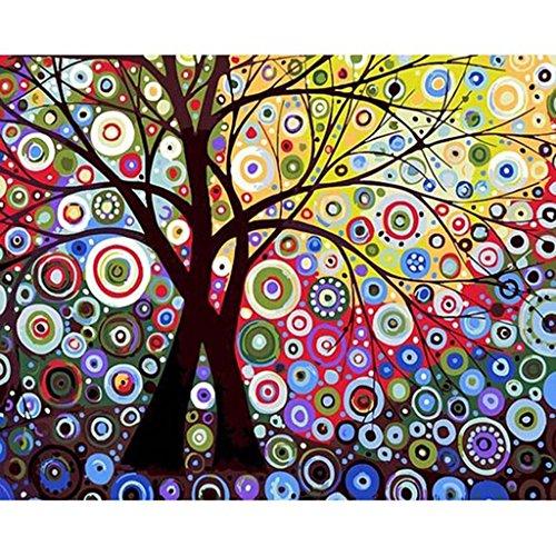 SimpleLife Pintura Abstracta del Aceite de Digitaces de la Pintura al óleo de Digitaces del árbol de Sun Abstracto por los números en Lona