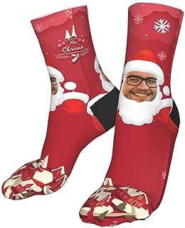 Jacklin F, Calcetines faciales personalizados con imagen, calcetines navideños personalizados con cara divertida, calcetines rojos de Papá Noel para hombres, mujeres, niños y niñas