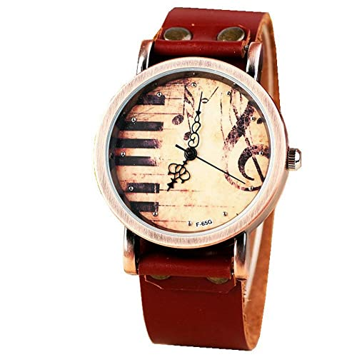 Vintage Piano Music Watch Brown Genuine Leather Vintage Classic Watch,Watch Gift