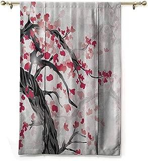 S Brave Sky Waterproof Roman Blinds,Japanese Plum Tree and Cherry Flowers Garden