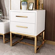 Bedside table Bedside table, stainless steel paint bucket cabinet versatile living room side bedroom double drawer simple ...
