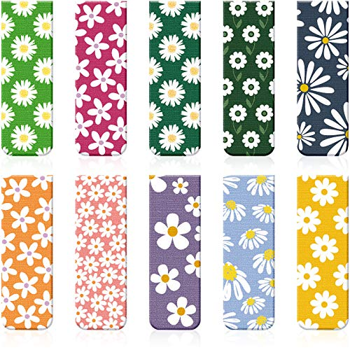 10 Pieces Magnetic Bookmarks Floral Magnet Page Markers Assorted Book Markers Set Flower Bookmarks Stationery for Students Reading, 10 Styles