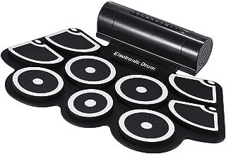 ammoon Portátil Electrónico Rollo Up Tambor Juego de Pastillas 9 Almohadillas de Silicona Altavoces Incorporados con los Palillos Pedales USB Cable de Audio de 3,5 mm