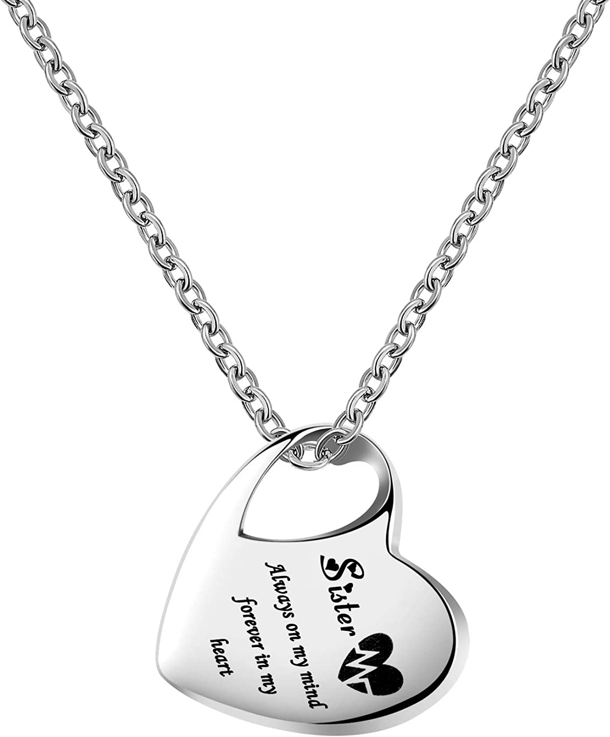 YSAHan Heart Urn Necklace for Ashes Sister Son Grandma Mom Cremation Stainless Steel Jewelry Engraved Always on My Mind Forever in My Heart Memorial Pendant