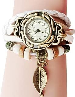 Women Quartz Fashion Boho Style Retro Weave Wrap Around Leather Bracelet Wrist Watch