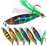 6Pcs Jig Señuelos De Pesca Duros Cucharas De Pesca De Metal con Pluma para Pesca De Truchas, Excelente Rendimiento a Larga Distancia 15G