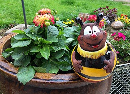 TB Keramik Gartenkugel Biene fliegend 17 cm Gartenstecker Handarbeit
