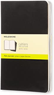 """Moleskine Cahier Journal, Soft Cover, Large (5"""" x 8.25"""") Plain/Blank, Black, 80 Pages (Set of 3)"""