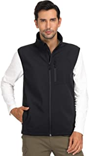 MIER Men's Softshell Vest for Outdoor, Travel, Casual, Work, Lightweight & Windproof, 7 Pockets, Black