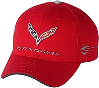 Gregs Automotive Stingray Corvette C7 Red Logo Hat Cap Chevrolet - Bundle with Driving Style Decal