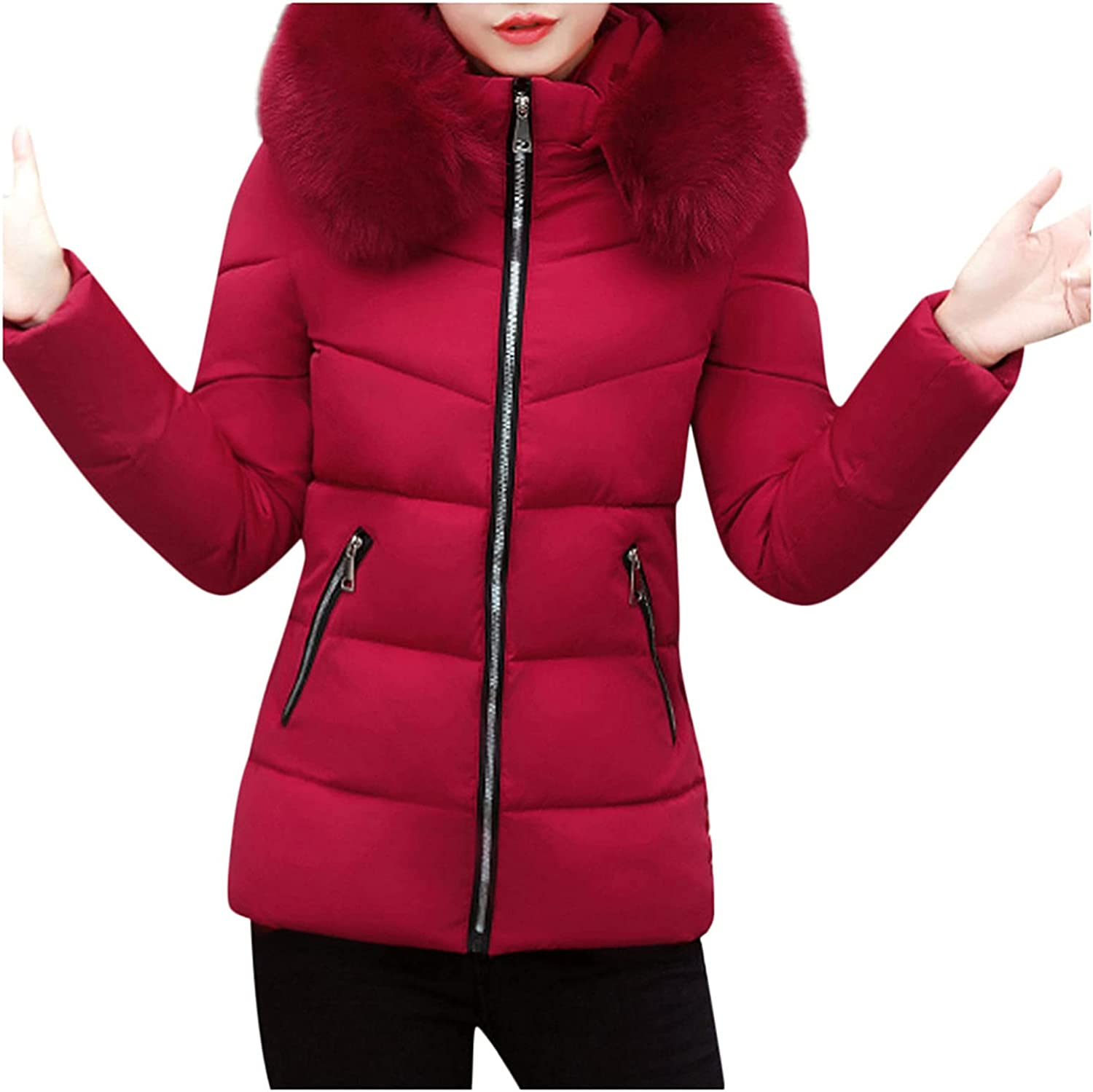 Messigaot Puffer Jacket Womens with Fur Hood Lapel Zip Pockets Quilted Parka Jacket Down Coat