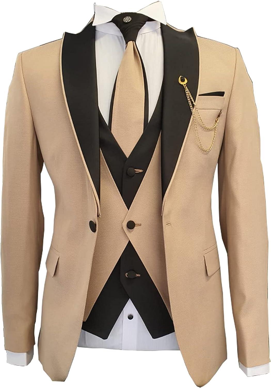 Men's 3-Piece Slim Suit Business Wedding Tuxedo White Jacket + Pants + Vest