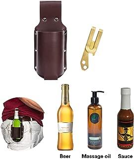 Beer Holster, Leather Classic Beer Holster Bottle Holders Include Opener,Espresso Brown