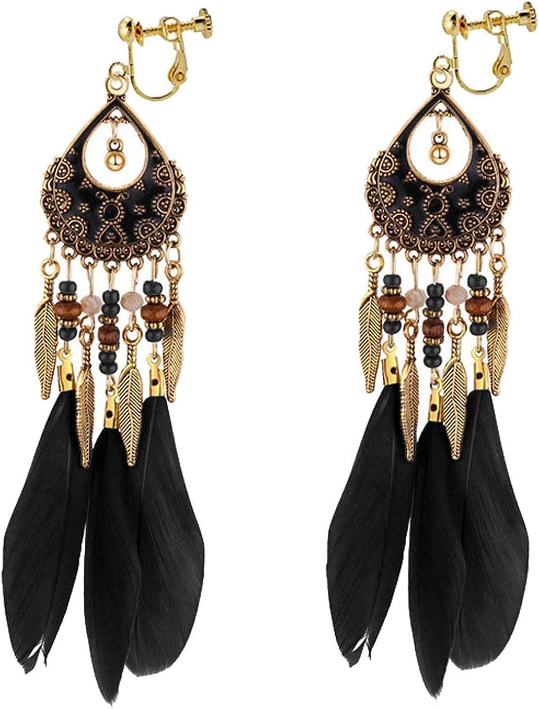 Retro Clip on Earrings Bohemian Earrings for Women Girls Gold Tone Leaf Dangle Drop Long Feather Tassel Vintage Statement Indians