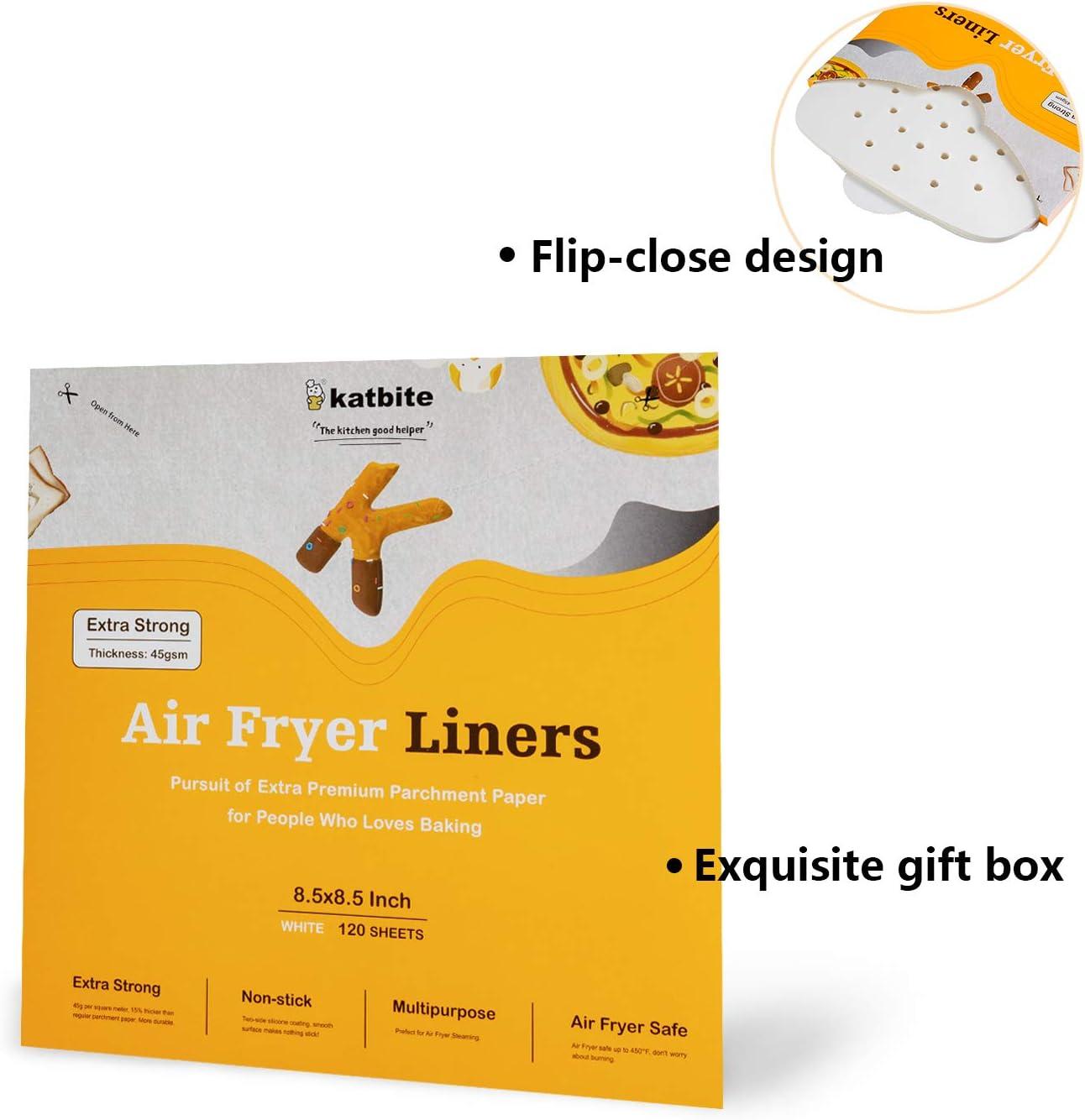 21.5cm katbite Heavy Duty Air Fryer Liners 120 Pcs Non-Stick Extra ...