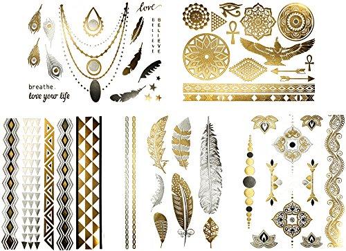 Terra Tattoos Egyptian Temporary Tattoos - 50 Silver Gold Metallic Tattoos