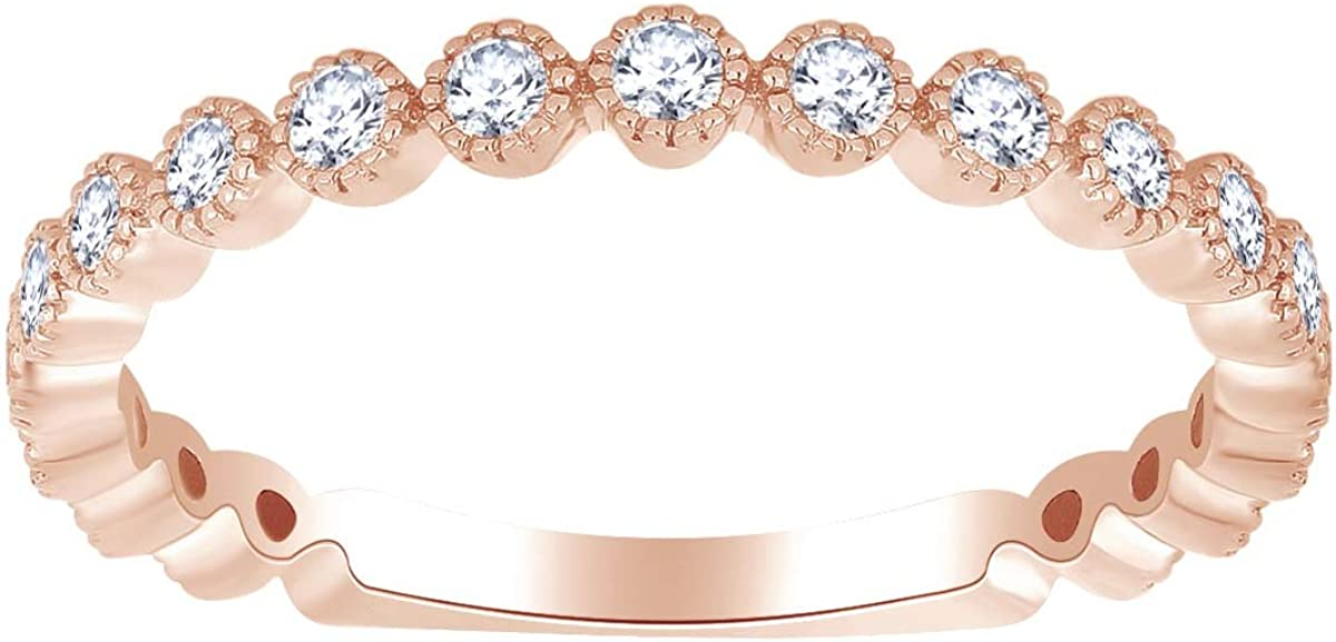Round Cut White Natural Diamond Stackable Anniversary Ring In 14k Solid Gold (0.41 cttw)