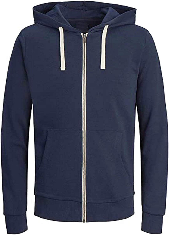 Hoodies for Men Pullover Casual Plain Zip up Athletic Sweatshirt Long Sleeve Men Gym Hoodie Drawstring Outwear