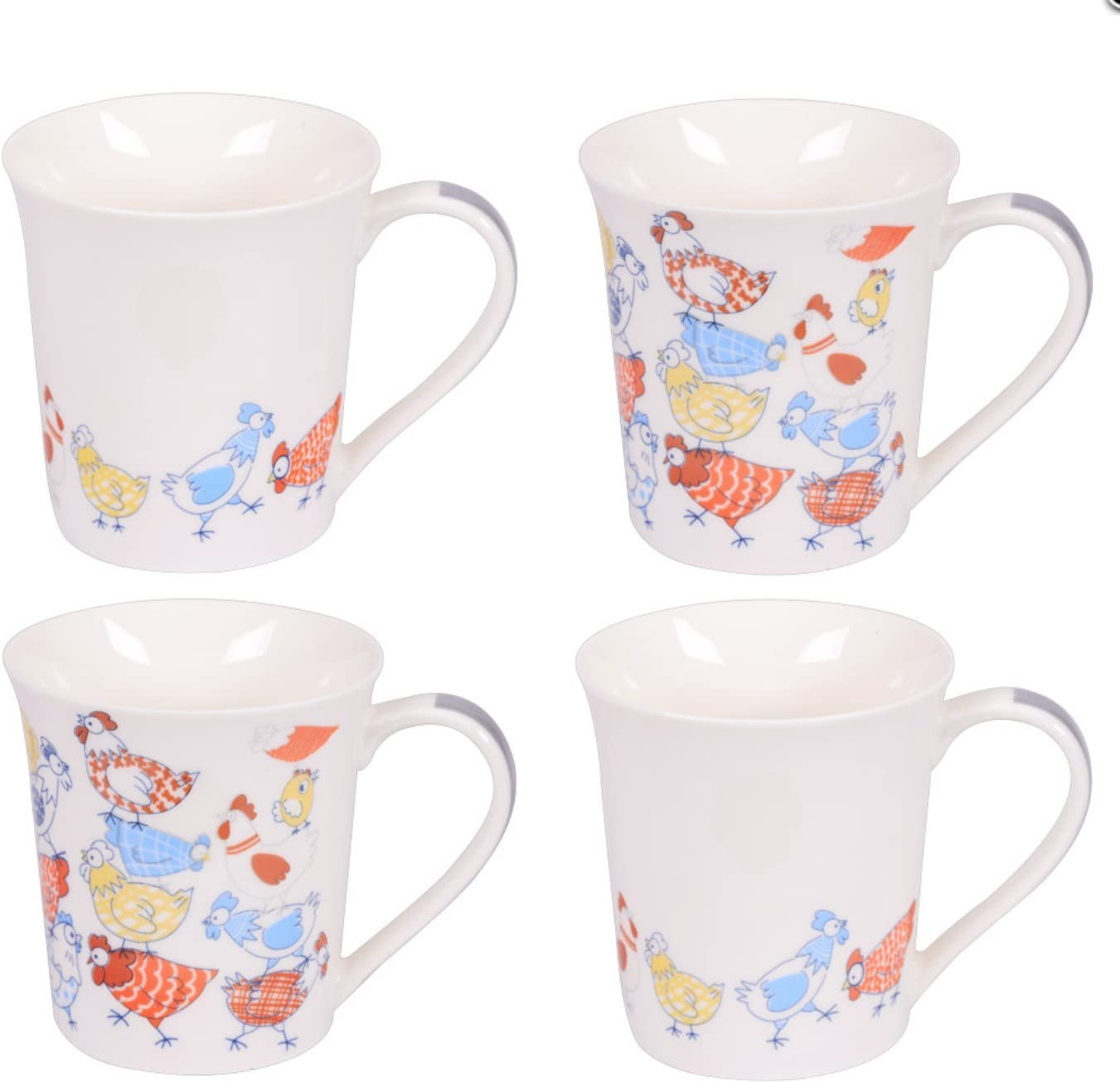 Table Passion New sales 231119 Set of 4 Year-end annual account Hen Mugs 12 - oz in Box Gift